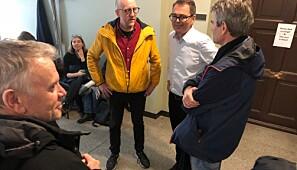 Pause i styremøte på NTNU 31.10.2019. F.v. Hans Otto Frøland, Øyvind Thomassen, styreleder Svein Richard Brandtzæg og førsteamanuensis Thomas Brandt ved Institutt for historiske studier som ble lagt ned.