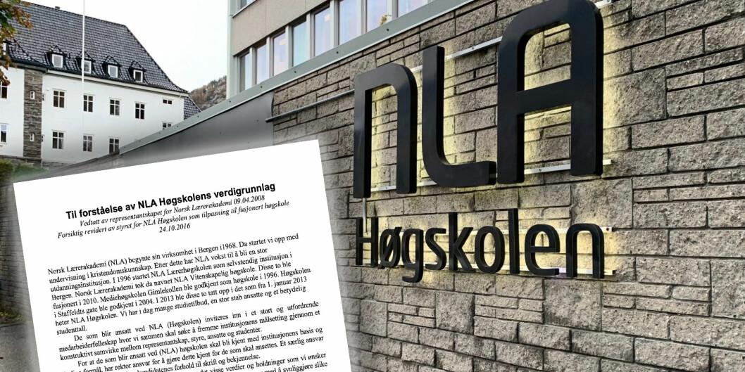 Ledelsen ved NLA Høgskolen jobber nå med et nytt verdidokumentet for høgskolen. Foto: NLA Høgskolen/skjermdump