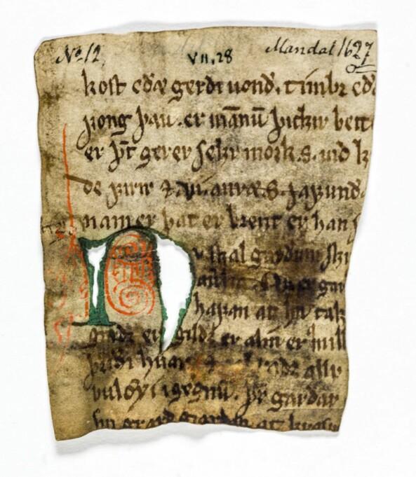 Riksarkivet i Oslo har digitalisert alle de 550 norrøne fragmentene som er i deres samling. Dette bildet viser en av de fem fragmentbitene som i dag har signaturen NRA 12 og som i middelalderen var del av samme bok som ubb-ms-1836-1. Grønnfargen i initialen n vil med tiden forsvinne helt.