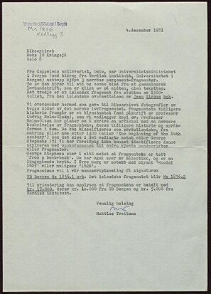 Brev som bekrefter innkjøp av fragmentene (ubb-ms-1836-1 og 2). Datert den 4. desember 1981, skrevet av Mattias Tveitane.