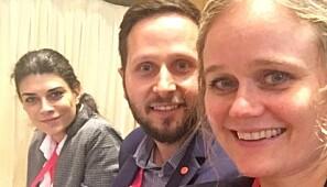 Thea Selliaas Thorsen saman med to av sine akademi-kollegaer under møtet i Barcelona i oktober. Foto: Privat
