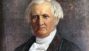 """Andreas Faye (1802-69), sokneprest i Holt og rektor ved Holt seminar 1839-61. Det gjør at han regnes som UiAs historisk sett """"første"""" rektor. Portrettet er malt av Christiane Schreiber 1861, og regnes som et av hennes hovedverk. Maleriet eies av UiA."""