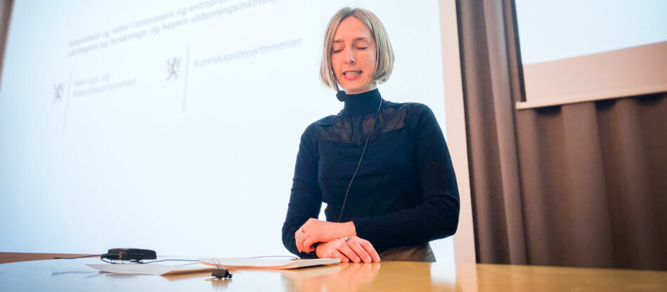 Forsknings- og høyere utdanningsminister Iselin Nybø under seminaret i dag. Foto: Torkjell Trædal