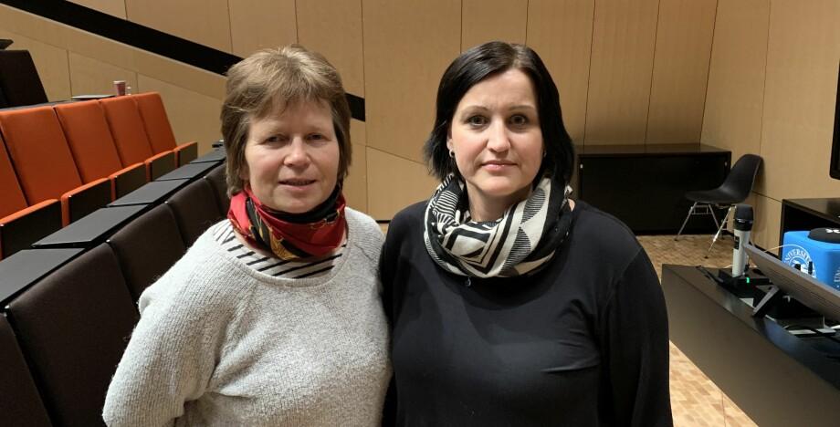 Signe Kroken og Marit Dahle er ledere i Norsk tjenestemannslag ved henholdsvis NMBU og UiT Norges arktiske universitet. De jobber for å få lagt dødt forslaget om overføring av universitetenes eiendommer til Statsbygg. Foto: NTL