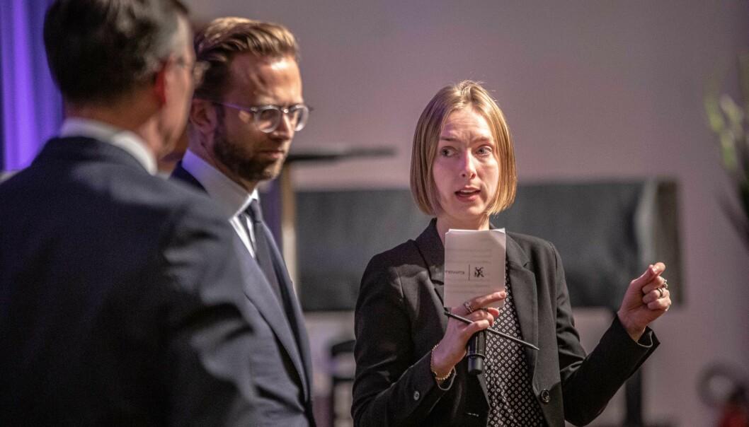 Dei to statsrådane Nikolai Astrup (H) og Iselin Nybø (V) hadde fleire bestillingar til univesiteta og høgskulane på UHR-konferansen. Foto: Siri Øverland Eriksen