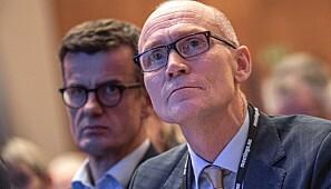 Steinar Kristoffersen er rektor ved Høgskulen i Molde. Bak han sit rektor ved Universitetet i Stavanger, Klaus Mohn. Foto: Siri Øverland Eriksen