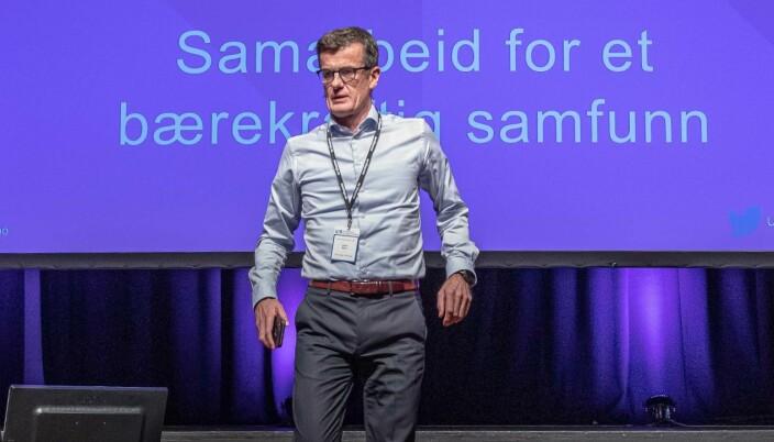 Klaus Mohn, rektor ved Universitetet i Stavanger under i konferanse i 2019.