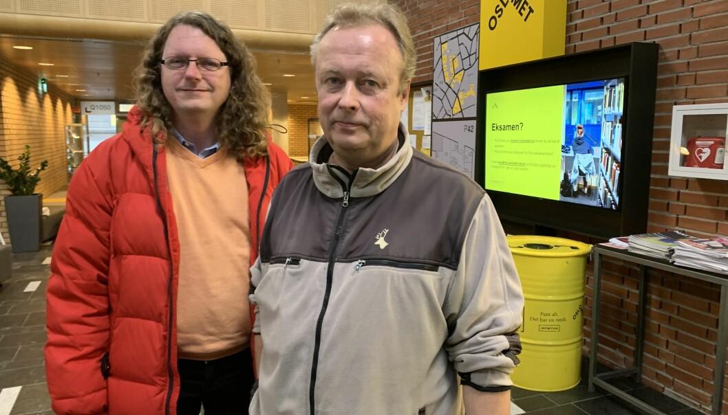 Bjørn Smestad og Kim Gunnar Helsvig, skoleforskere og lærerutdannere på OsloMet. Foto: Eva Tønnessen