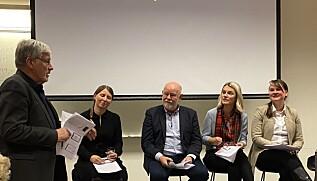 Professor Anders Breidlid ved OsloMet var en av initativtakerne til konferansen, her sammen med deltakere i panelet som avsluttet konferansen; leder av Forskerforbundet Guro Lind, nestleder i Utdanningsforbundet, Terje Skyvulstad og rikspolitikerne Nina Sandberg (Ap) og Mari Knutsdatter Strand (Sp). Nestleder i NTL, Ellen Dalen, satt også i panelet. Foto: Hege Larsen