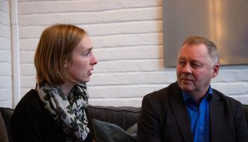 Forsknings- og høyere utdanningsminister Iselin Nybø møtte Rolf Birketvedt og fikk informasjon om forskningsprosjektet torsdag ettermiddag. Foto: Mats Arnesen.