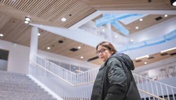 På vei inn og opp i det nye jussbygget i Oslo. Foto: Siri Øverland Eriksen