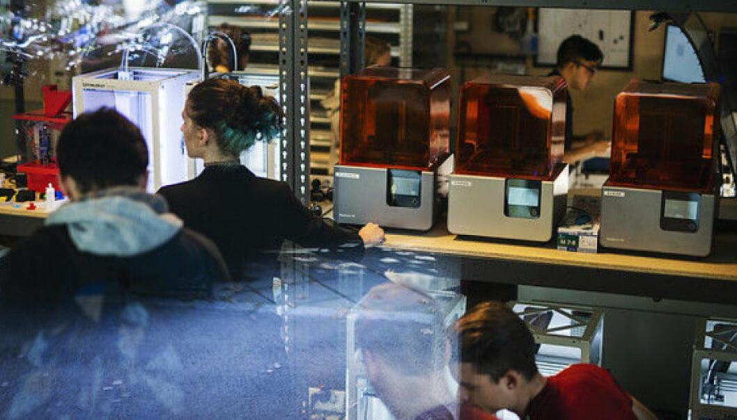 Makerspace ved OsloMet var en av de 12 prosjektene som fikk støtte gjennom Program for studentaktiv læring i fjor. Foto: Benjamin Ward/OsloMet