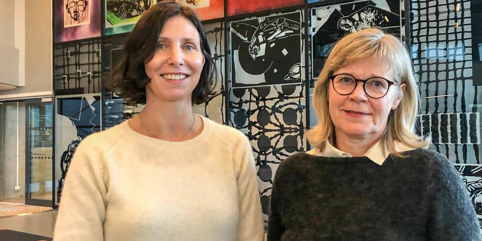 Sigrun Wessel Svenkerud og Brit Bolken Ballangrud frå USN har forska på kva professorar som vert intervjua av VG og Aftenposten. Foto: USN