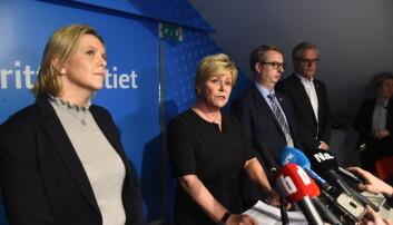 Fremskrittspartiet går ut av regjering. Solberg fortsetter på samme plattform.