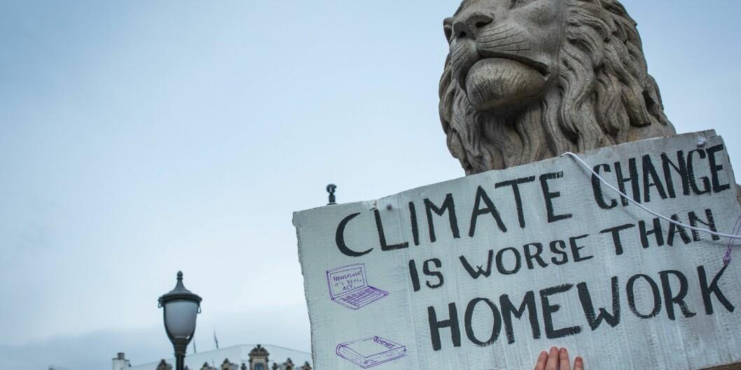 Fra skolestreik for klima foran Stortinget 22. mars 2019.