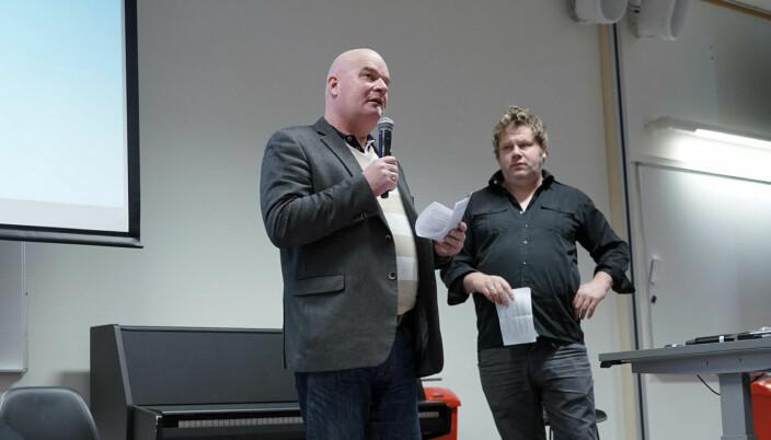 Erik Dahlgren i Forskerforbundet ved OsloMet (t.v.) og tidligere leder i NTL Anders Lyng.