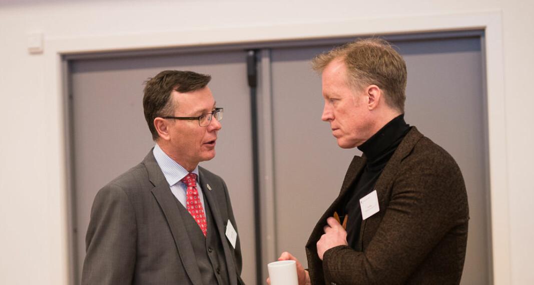 Både tidligere rektor ved Universitetet i Bergen, Dag Rune Olsen (t.v.) og OsloMet-rektor Curt Rice sluttet, eller slutter snart, i sine åremål før tiden, fordi de har fått nye rektorjobber et annet sted.