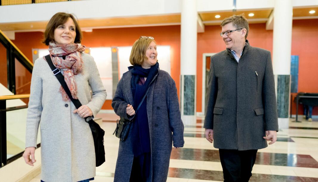 Viserektor for forskning og utdanning ved Universitetet i Oslo, Åse Gornitzka (t.v.). Her sammen med prorektor Gro Bjørnerud Mo og rektor Svein Stølen.