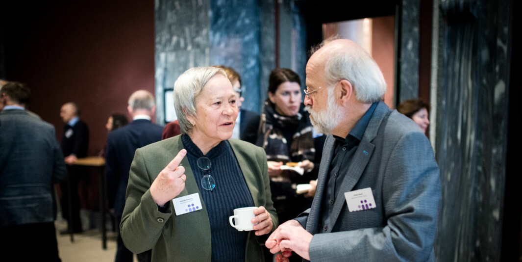 Rektor på høgskolen i innlandet, Kathrine Skretting, sammen med kollega rektor Petter Aasen på Universitetet i Sørøst-Norge. Aasen klarte det Skretting så langt ikke har klart, men hun gir slett ikke opp.