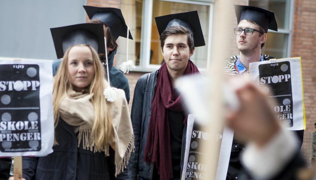 Engasjementet mot skolepenger har vært stort blant studentene. Her fra en aksjon ved Universitetet i Oslo i 2014.