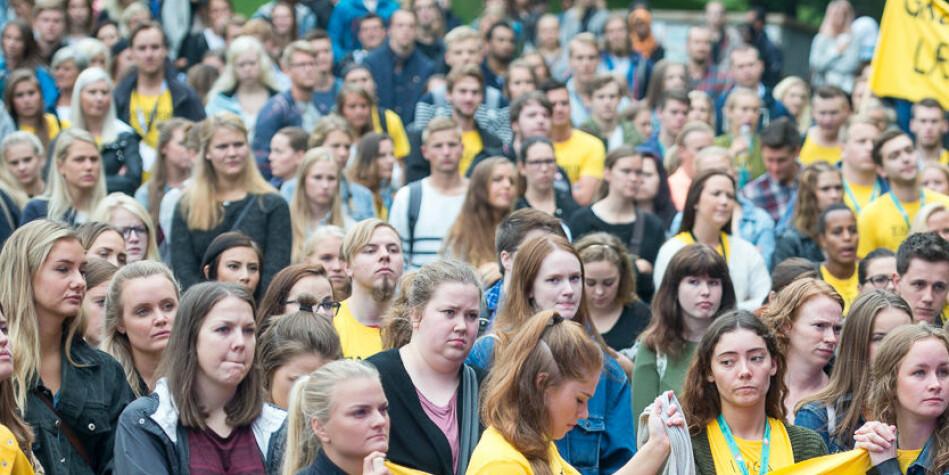 Studenter og faddere under åpningssermoni ved OsloMet. Arkivfoto: Skjalg Bøhmer Vold