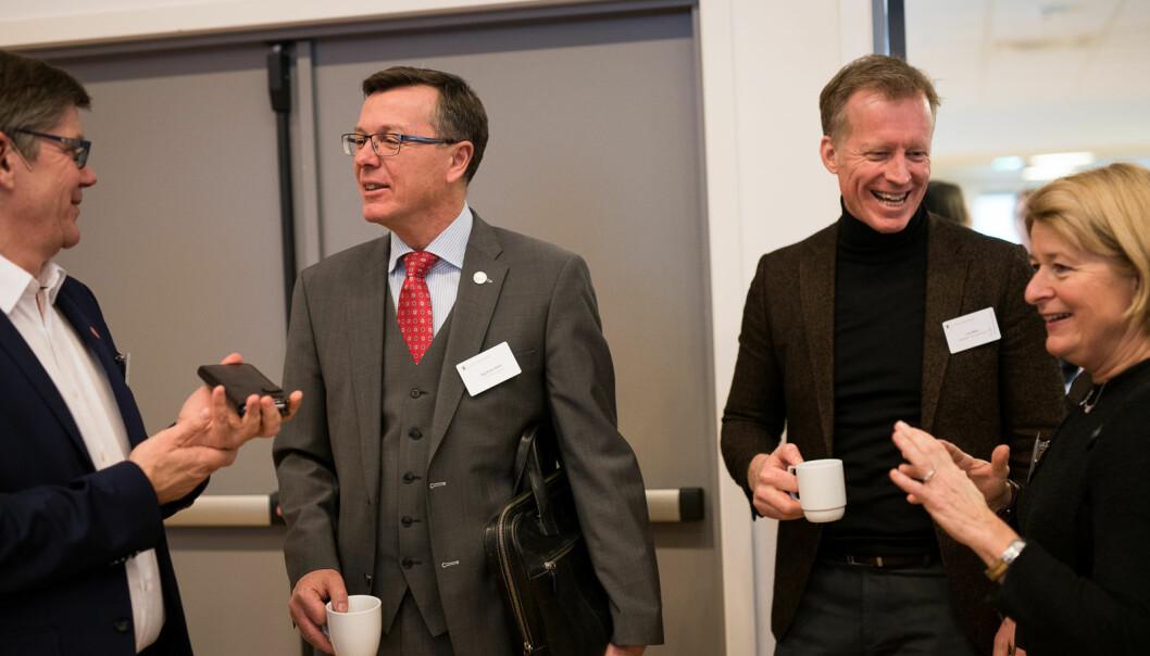 Svein Stølen og Dag Rune Olsen (til venstre) har ikkje studentar i sine leiargrupper. Det har Curt Rice og Anne Husebekk.