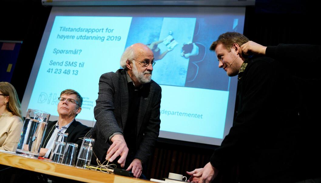 USN-rektor Petter Aasen is amtale med daværende studentleder Håkon Randgaard Mikalsen, og med UiO-rektor Svein stølen ve sin side. Vi snakker 2019 og framleggingen av Tilstansdrapporten.