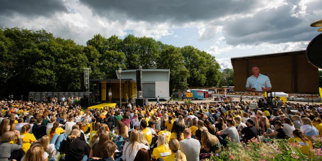 Ordfører Jørgen Vik håper at OsloMet velger Lillestrøm som campus utenfor Oslo, og med det få se åpningsseremonier som dette i sentrum av kommunen sin om noen år.