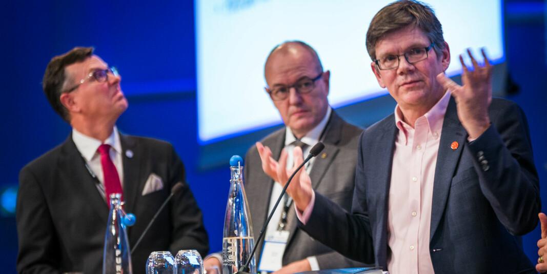 UHR-styreleiar Dag Rune Olsen saman med dåverande NTNU-rektor Gunnar Bovim og UiO-rektor Svein Stølen. No er ikkje Olsen og Stølen heilt samde om handsaming av utvekslingsspørsmålet.