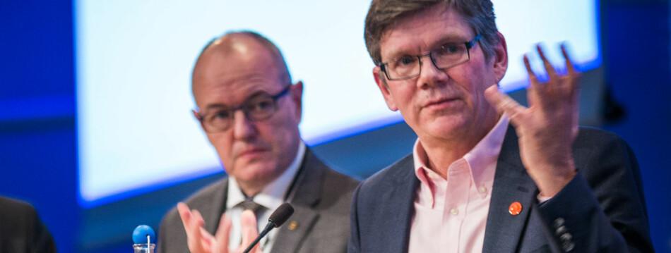 Svein Stølen (t.h.), rektor ved Universitetet i Oslo reagerer på flere av utspillene til eks-rektor ved NTNU, Gunnar Bovim. Foto: Siri Ø. Eriksen