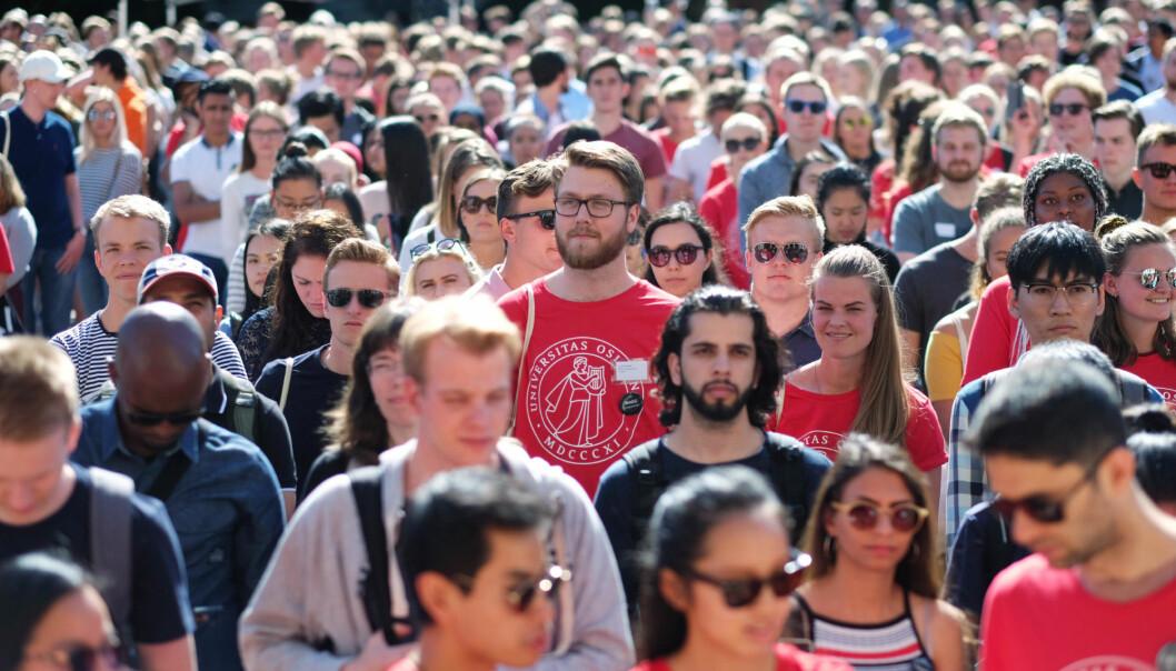 Fra studiestart ved Universitetet i Oslo, Universitetsplassen. Mange studenter kommer ikke på den utdanninga de helst ønsker seg.