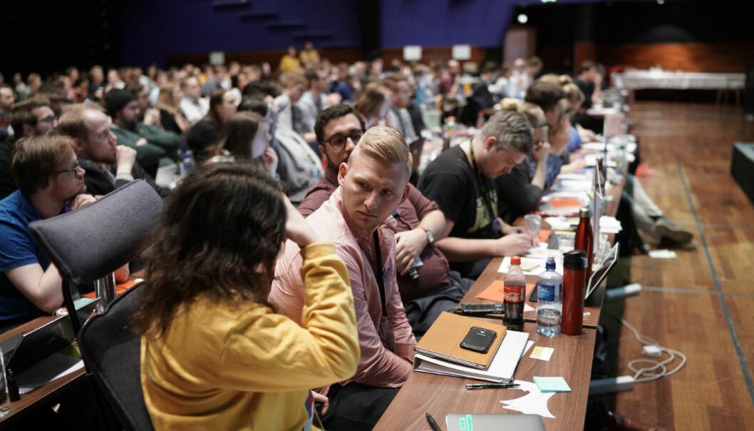 Slik såg det ein gong ut på landsmøte. I år, som i fjor, vert landsmøtet i NSO digitalt. Det går føre seg i slutten av april.
