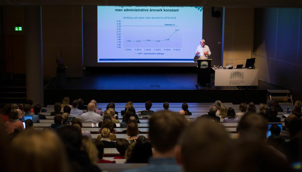 Bildet er fra et allmøte for administrativt ansatte ved daværende Høgskolen i Oslo og Akershus. Arkivfoto.