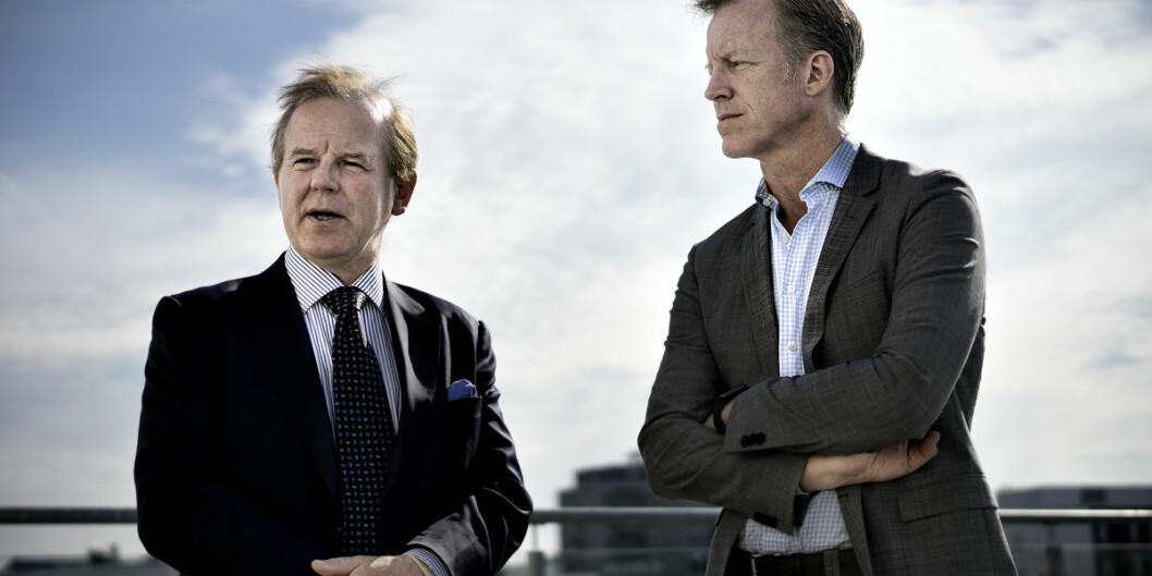 Tidlgiere rektor ved Universitetet i Oslo, nå ved Karolinska Institutet, Ole Petter Ottersen (t.v.) anbefaler bruk av munnbind under gjenåpning av universitetet i Sverige. Hans rektorkollega ved OsloMet, Curt Rice, venter på en anbefaling fra norske helsemyndigheter.