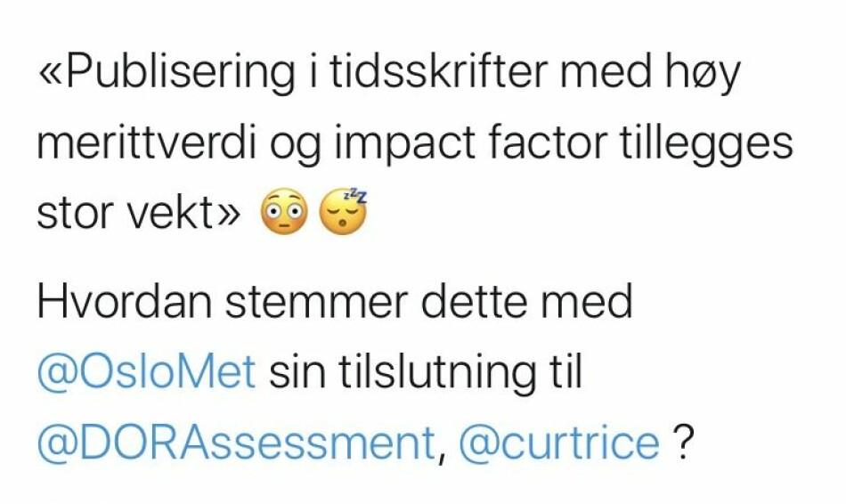 Illustrasjon: Skjermdump fra Twitter. Atle Rotevatns tweet.