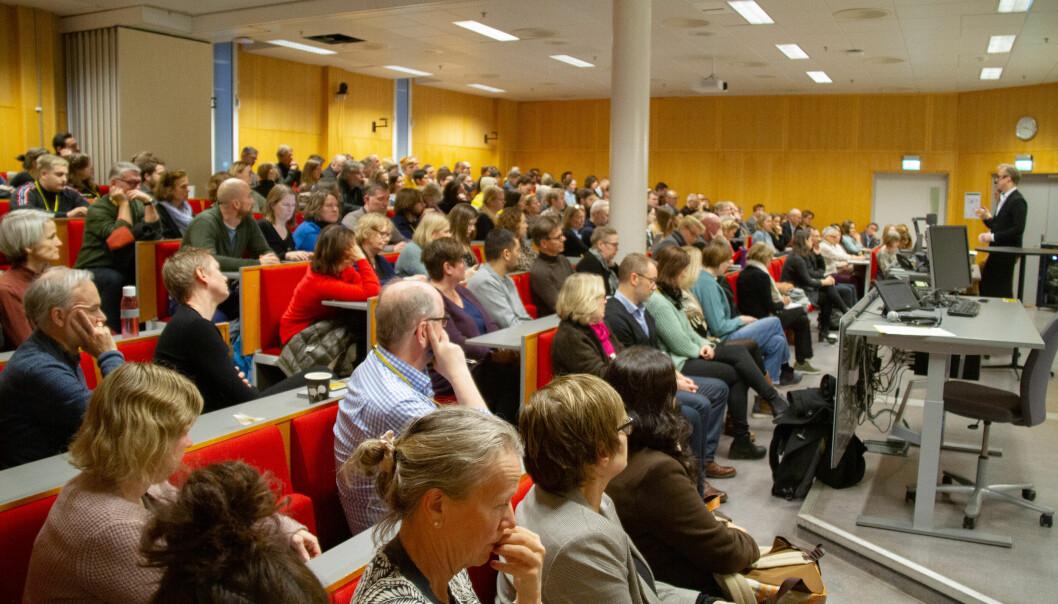 Fullsatt sal på allmøtet om Kjeller i Pilestredet 29. januar. Foto: Ragnhild Vartdal