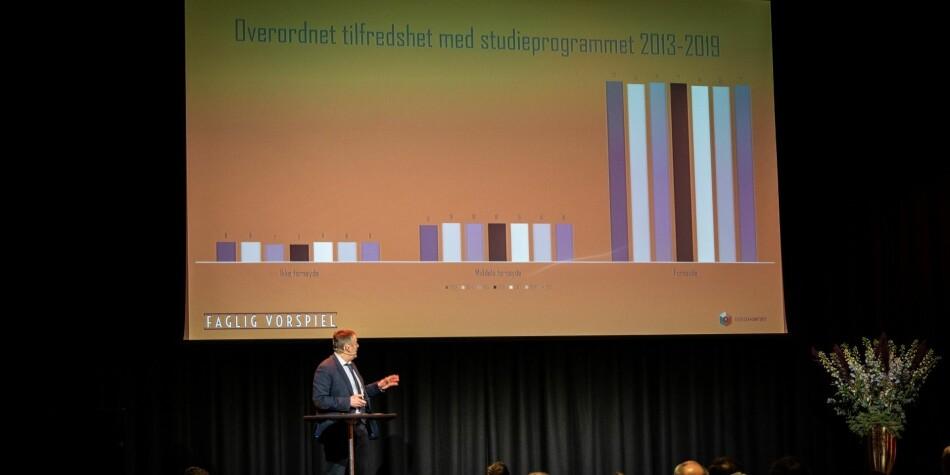 Innleggsforfatterne lanserer tre forslag for å videreutvikle Studiebarometeret. På bildet er Ole Jacob Skodvin, analysedirektør i Nokut, som presenterte Studiebarometeret 2019 i slutten av januar. Foto: Nokut