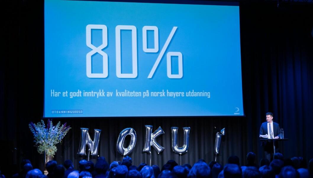 Terje Mørland, administrerende direktør i Nokut, under offentliggjøring av Studiebarometeret . Foto: Nokut