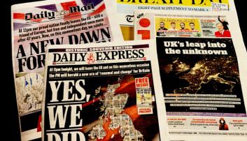 Et knippe britiske aviser dagen etter Brexit.