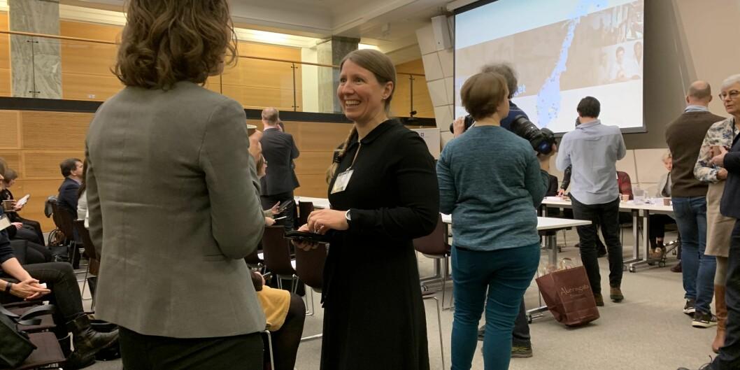 Leder i Forskerforbundet, Guro Lind, på framlegging av ny universitets- og høgskolelov. Foto: Eva Tønnessen
