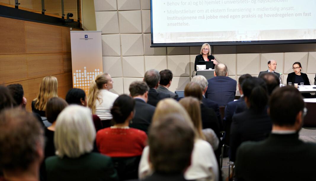 Det var stort oppmøte da Helga Aune la fram sitt og utvalgets forslag til ny universitets- og høyskolelov 13.februar 2020. Til våren skal det konkluderes.