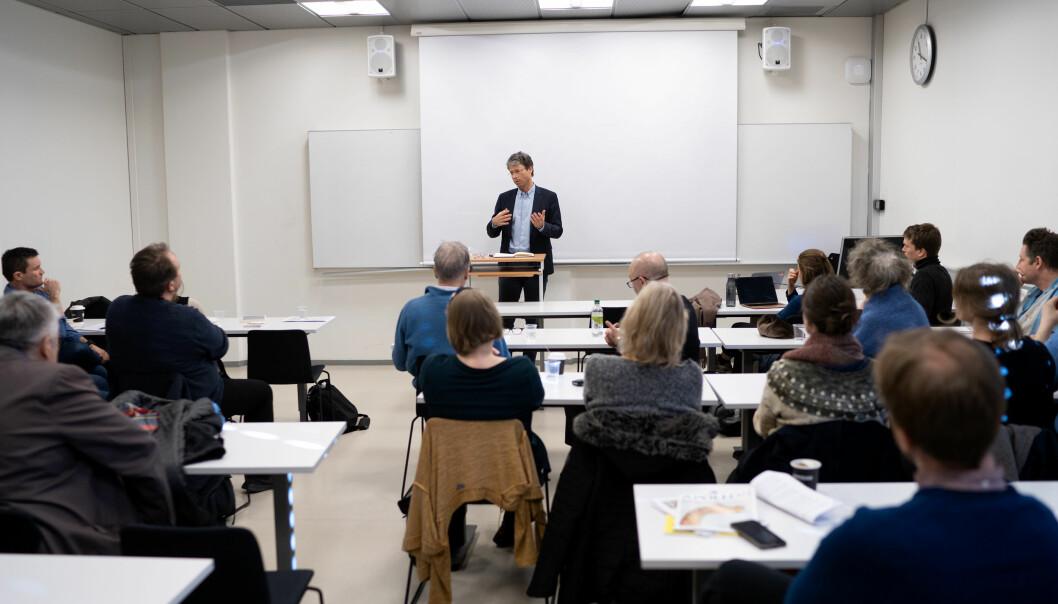 — Det er en dehumanisering som er farlig, sa Frode Helland på et debattmøte på UiO. Foto: Ketil Blom Haugstulen