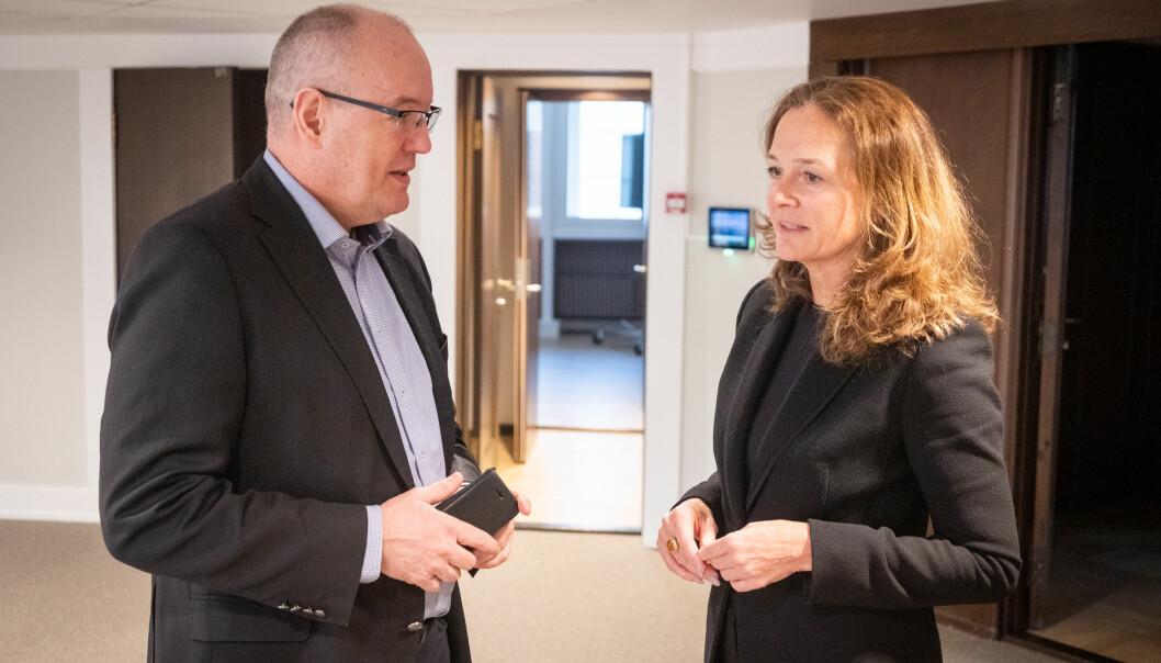 Gunnar Bovim, styreleder i Innovasjon Norge, og styreleder Hilde Tonne i Forskningsrådet. Foto: Torkjell Trædal