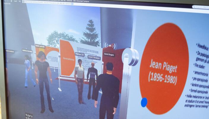 Slik ser skjermen til professor Engen ut, når han har studentene med seg i et virtuelt auditorium.