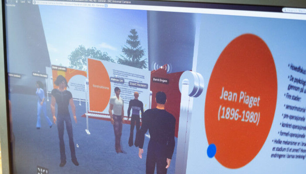 Slik kan det se ut dersom man inviterer studentene med seg inn i et virtuelt auditorium, men det er en rekke andre enklere løsninger som kan velges. Foto: Torkjell Trædal.