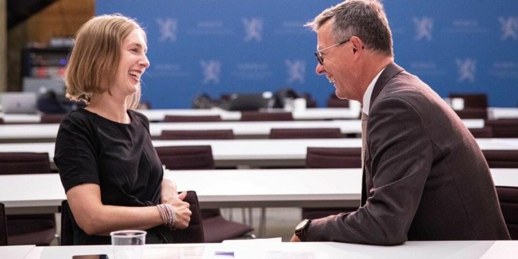 Iselin Nybø og UiB-rektor Dag Rune Olsen har vært på flere delegasjonsreiser sammen.