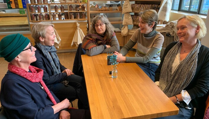 Fem historiekvinner rundt eit bord. Nokre eldre enn andre, kommenterer Elisabeth Haavet (63) på bordenden sjølvironisk.