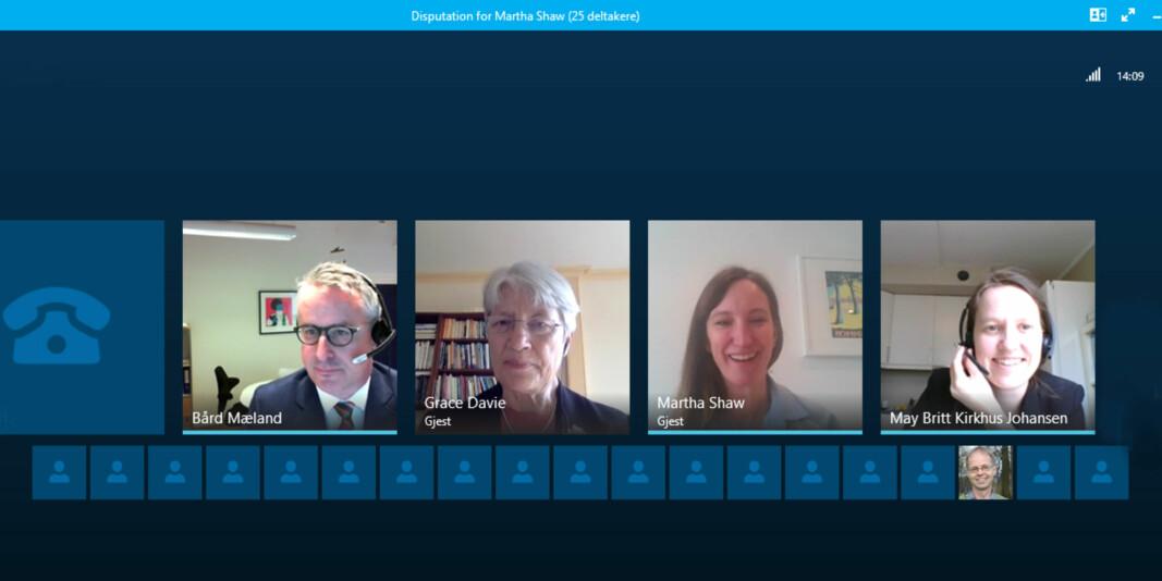 Martha Shaw disputerte digitalt ved VID vitenskapelige høgskole 23. mars via Skype. Det var flere deltakere underveis, blant andre rektor Bård Mæland og veileder Grace Davie.