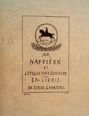 Ex libris for Einar G. Martens, laget i 1925 av bankfullmektig Ole Johan Larsen.