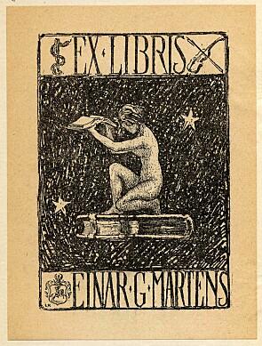 Symboltung Ex libris, laget for Einar G. Martens av «L.R.», ukjent år.